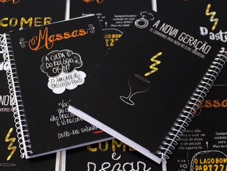 Imagem: Capa para caderno de receitas de massas.