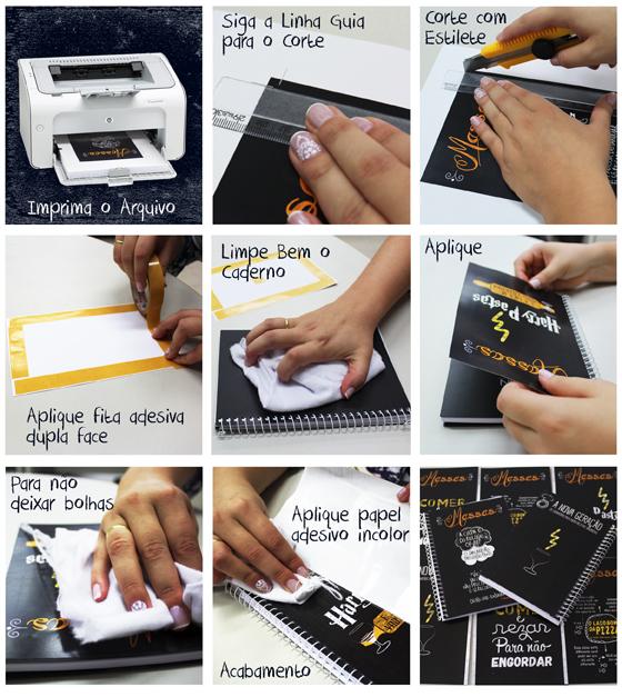 Imagem: Passo a passo para personalizar o seu caderno de receitas.