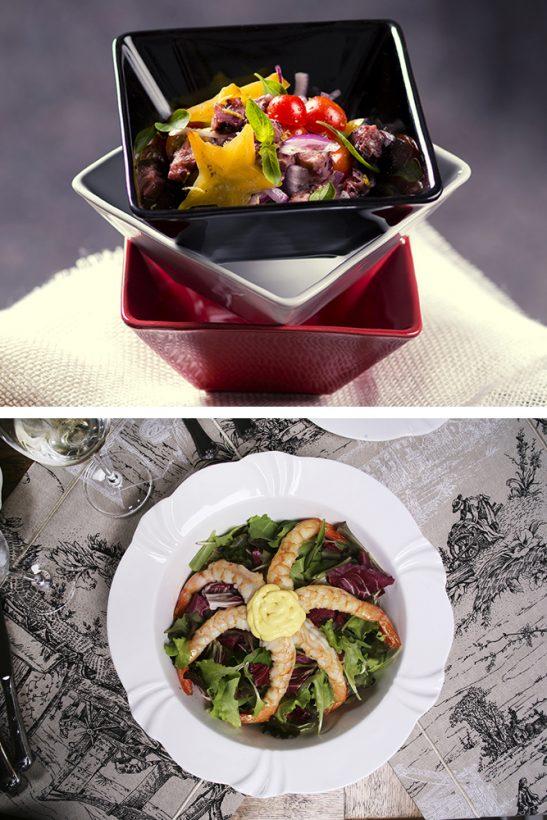 Saladas com frutos do mar
