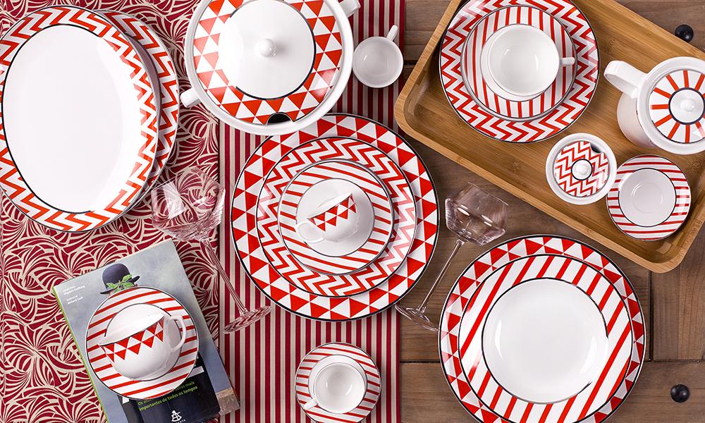 Flamingo Baltic da Oxford Porcelanas. Padronagens geométricas com inspiração no design escandinavo.