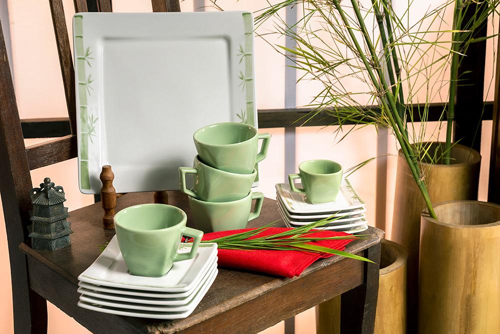 Também lançamento deste ano, a linha Nara Imperial tem um tom de verde mais suave, com estampa de bambus com traços inspirados na pintura manual.