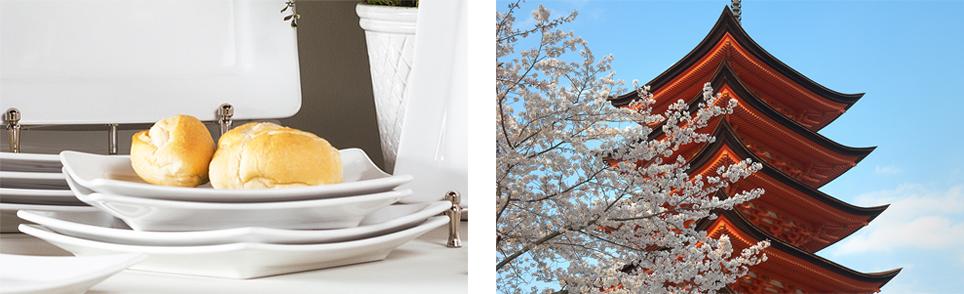 As pontas dos pratos são inclinadas como os telhados pagode. Foto à direita: Shutterstock.