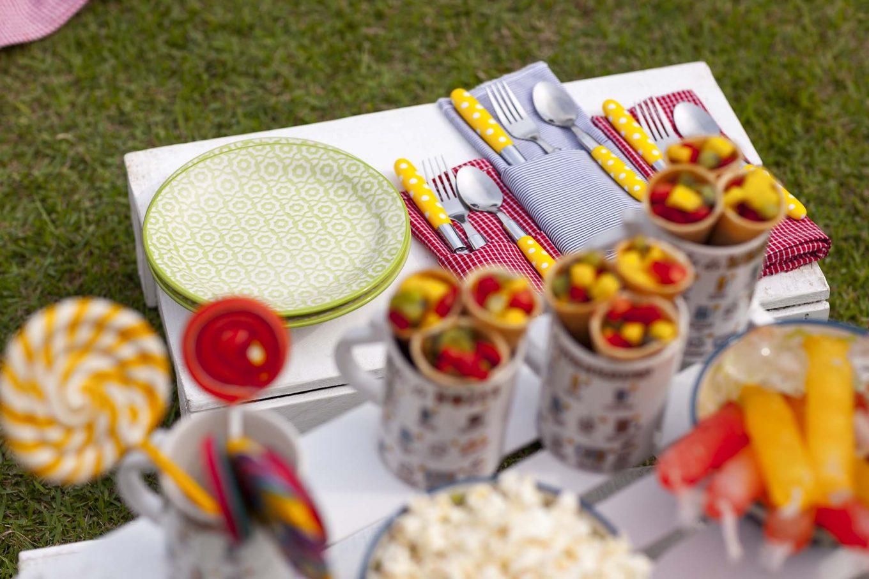 Imagem: Cor em todos os detalhes: tecidos, guardanapos, talheres alegres e os lindos pratos da linha Floreal Thai compõem o espaço lúdico da criançada. Foto: Raphael Günther/Bespoke Content.