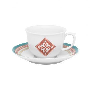 Xícara de Chá com Pires Flamingo Colors