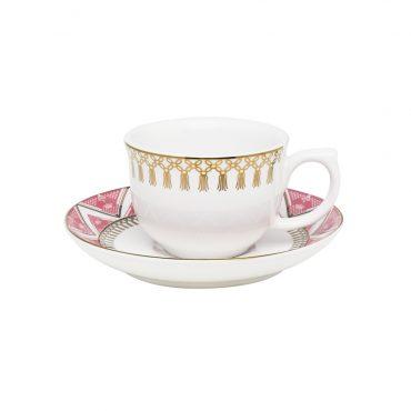 Xícara de Café com Pires Flamingo Macramê