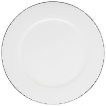 Sousplat Branco Filete Prata