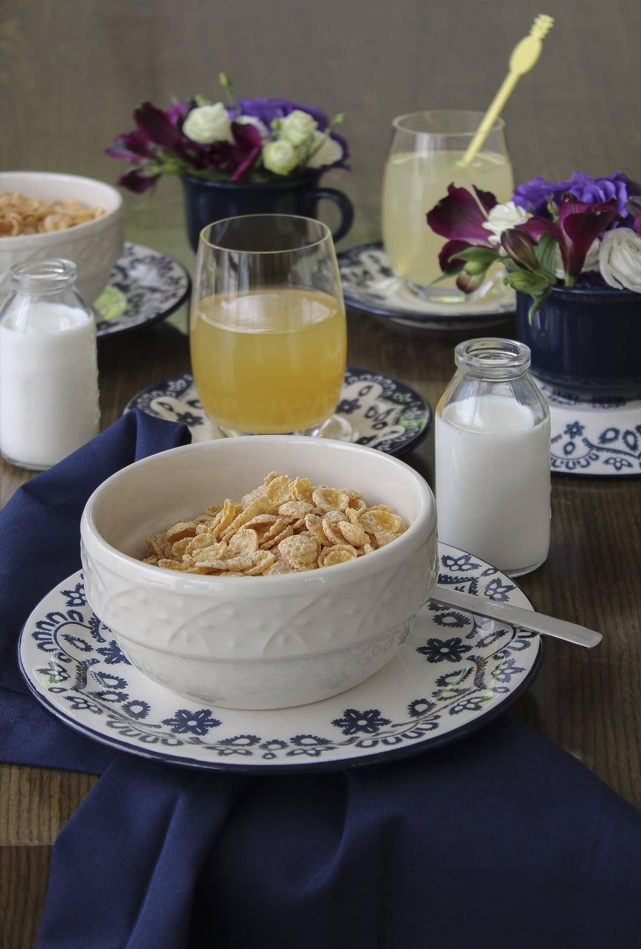 Imagem: Os cereais podem ser servidos em bowls com uma garrafinha de leite individual. Misture as louças para deixar a mesa bem divertida. Aqui, usamos bowls da linha Mendi Marfim e pratos da Floreal Energy, tudo da Oxford. Foto: Cacá Bratke