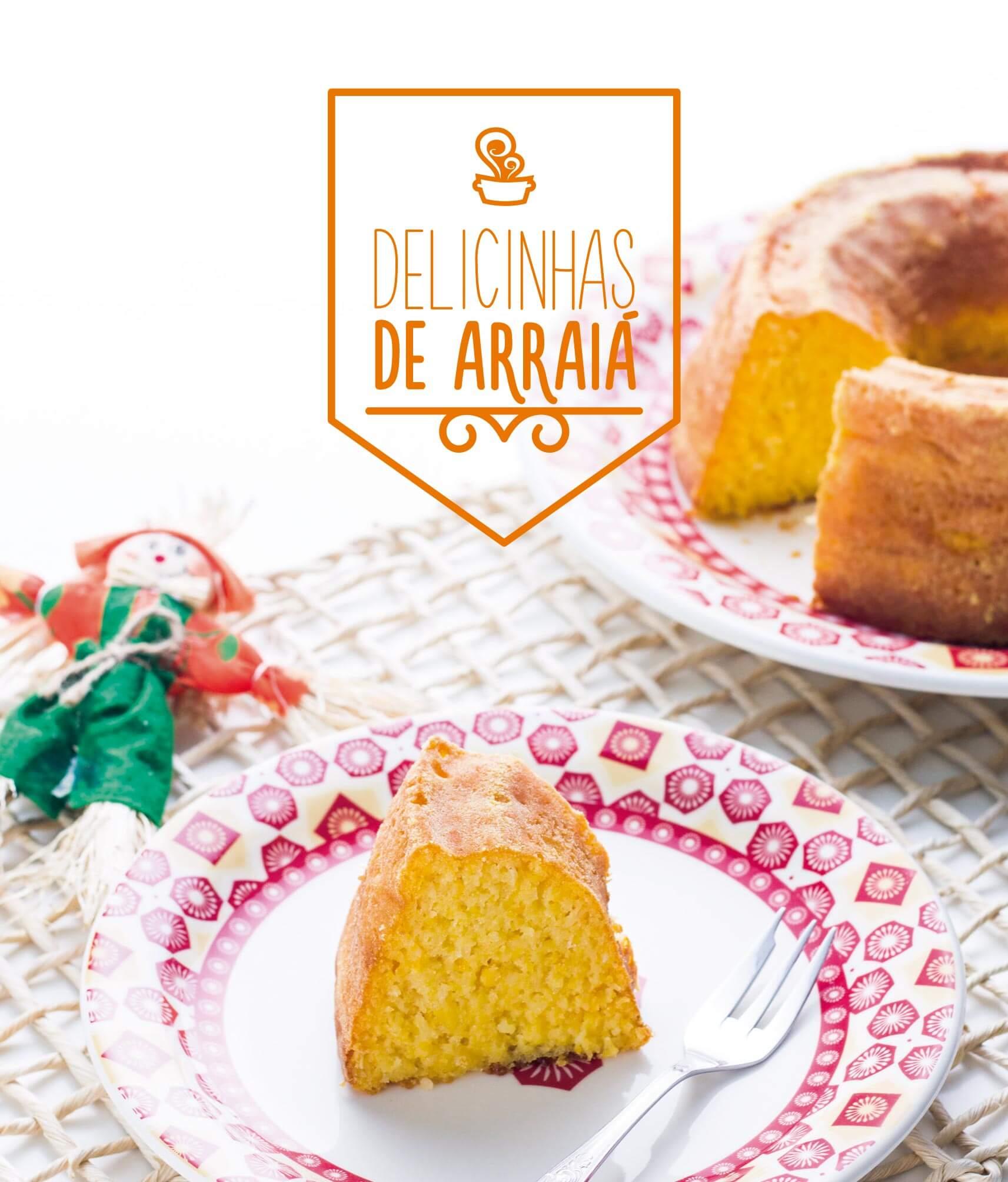 Capa do ebook Delicinhas de Arraiá, com receitas preparadas pelo Rafa e pela Cami, do blog Na Minha Panela.