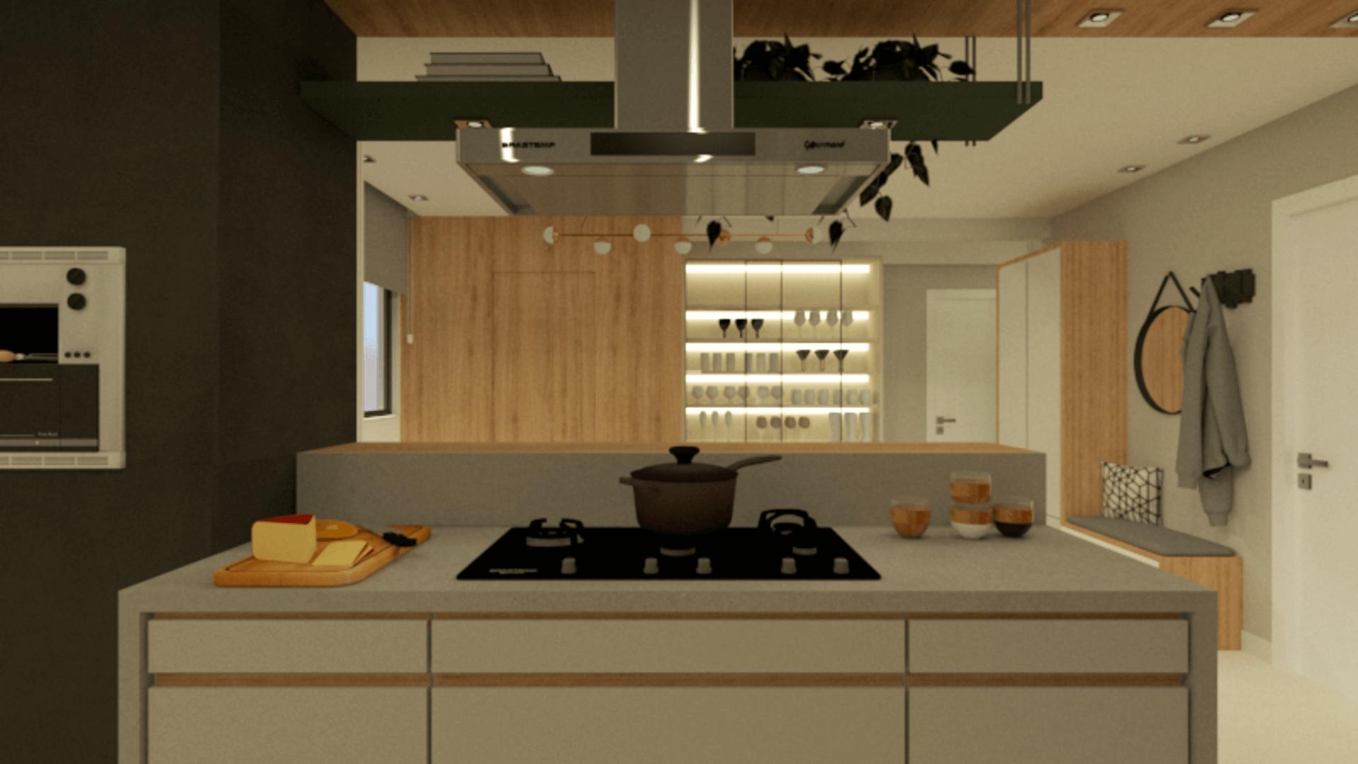 Imagem: Projeto de churrasqueira a gás em apartamento. Autoria: Arquiteca Projetos Afetivos.