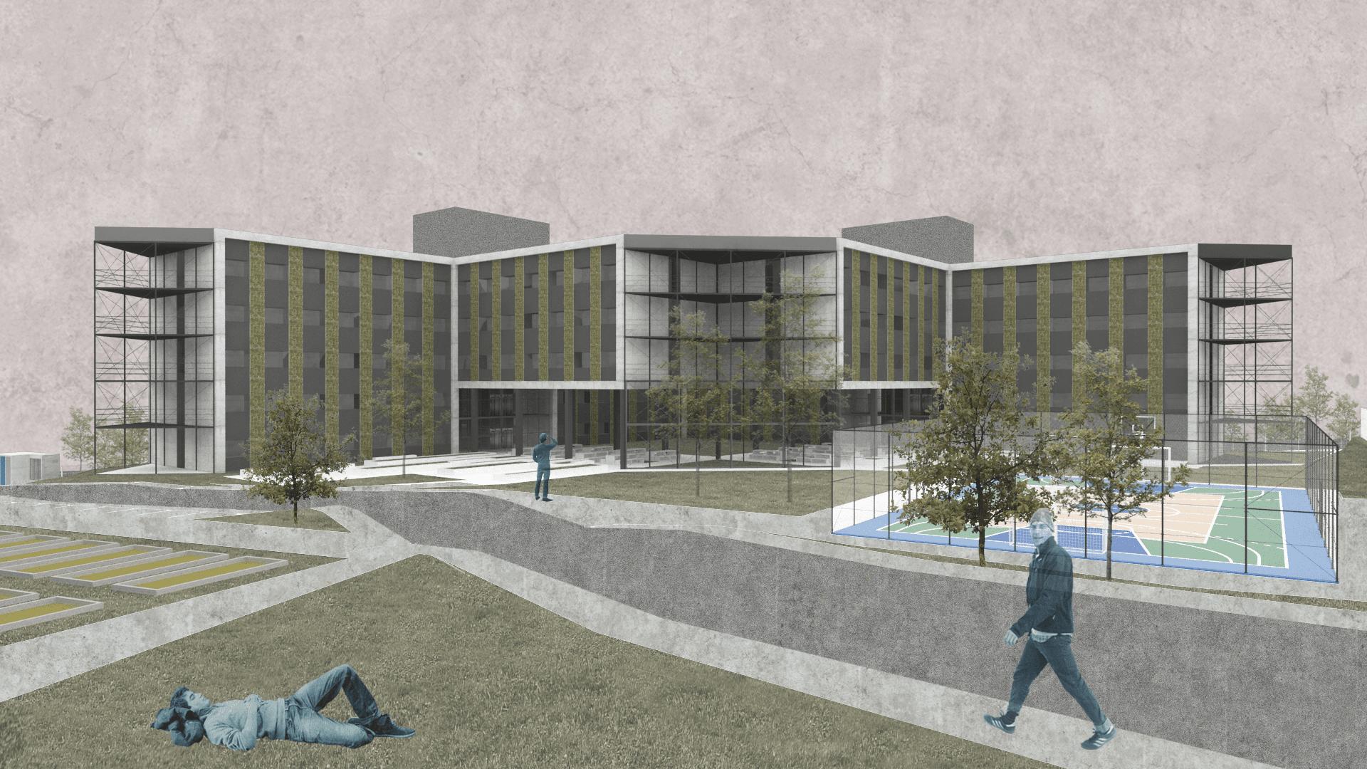 Projeto de graduação de Gabriel Sherer: um Complexo de Moradia Estudantil e Centro de Pesquisas.
