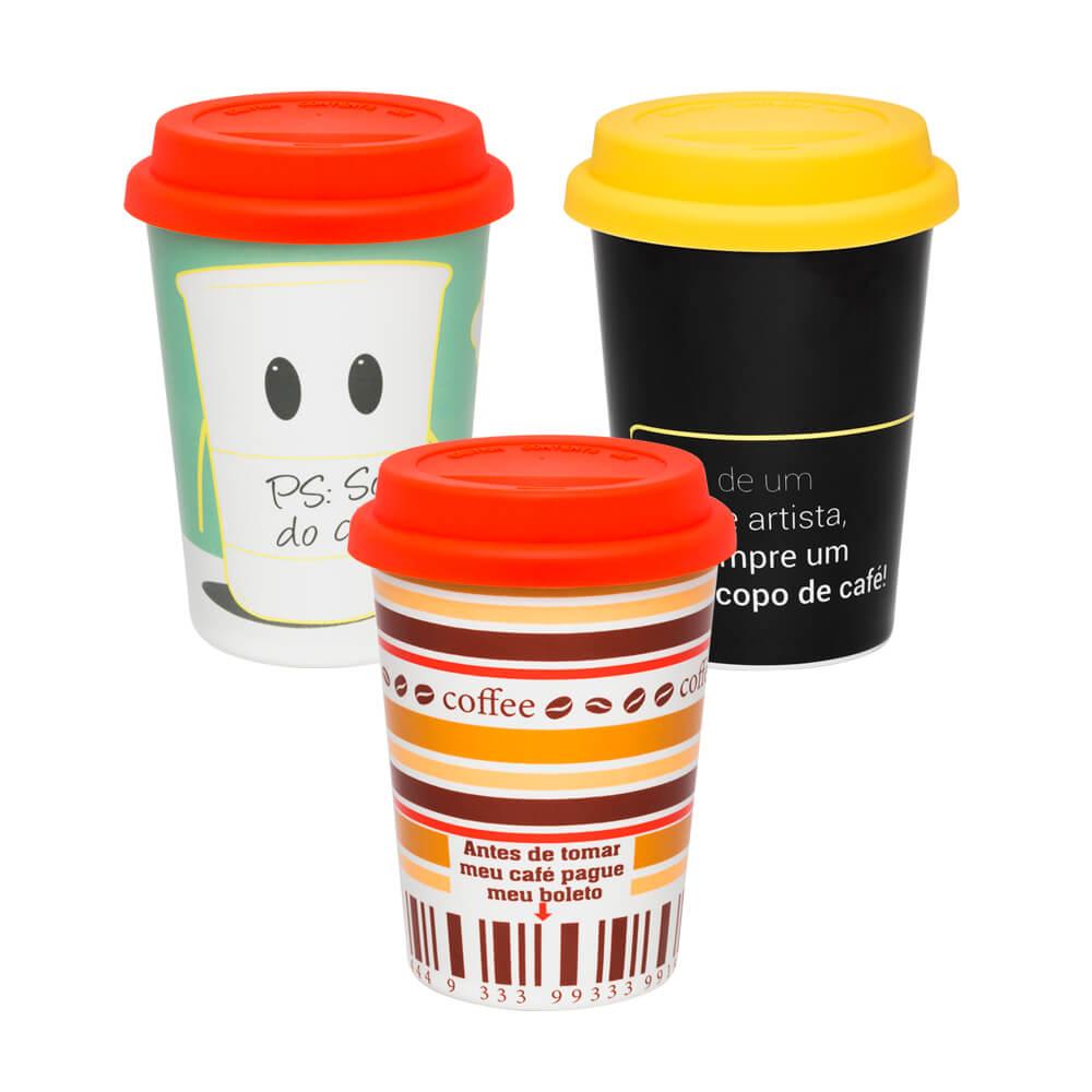 Texto: Seja para café, chá ou chocolate quente, a Oxford possui muitas opções de copo para viagem que são a sua cara! A tampa é de silicone e o copo é de cerâmica, o que detém o calor da bebida por muito mais tempo!