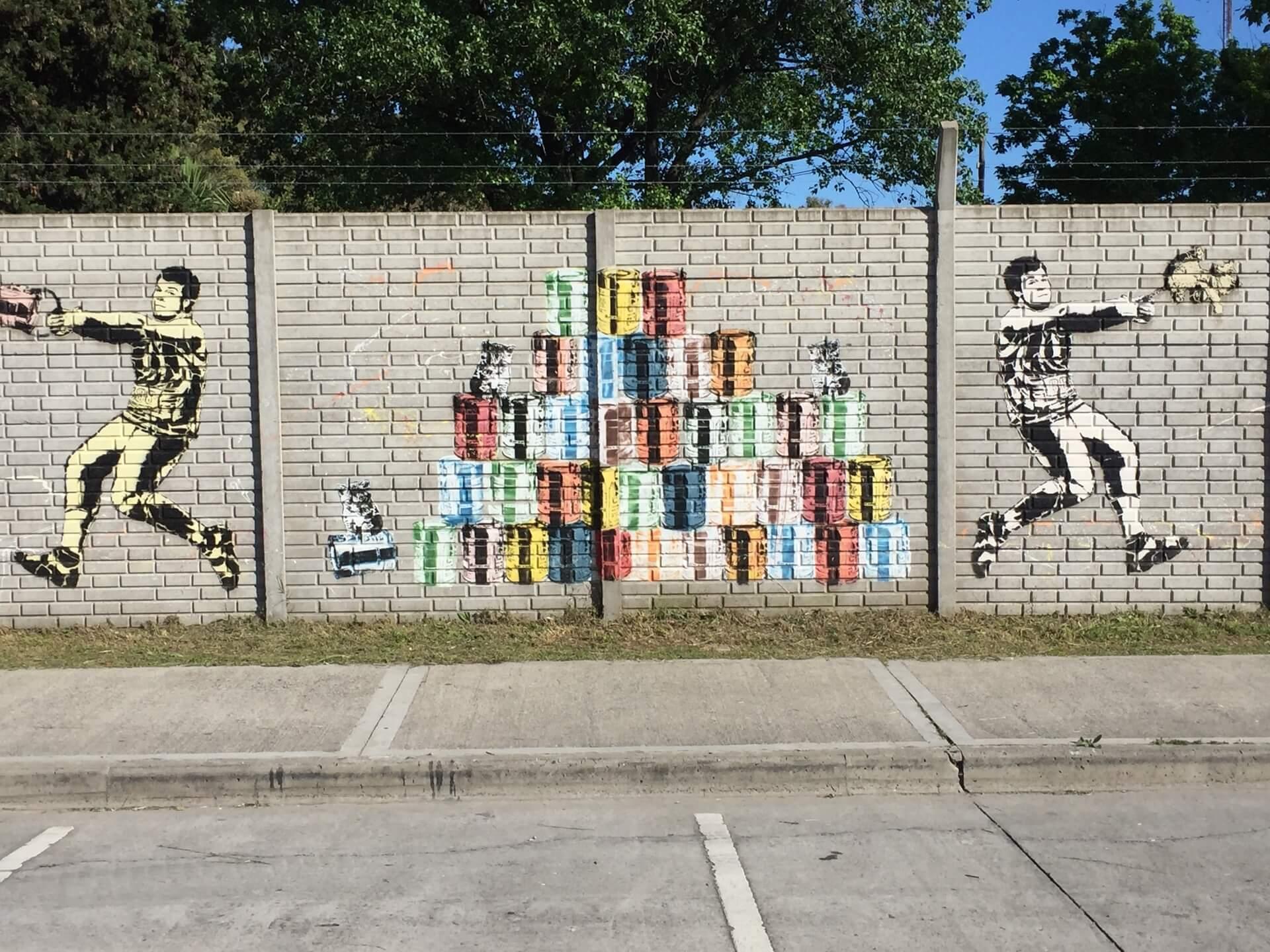 Mural de arte enorme a céu aberto na Tecnópolis. Foto: Fabíola Cordeiro.