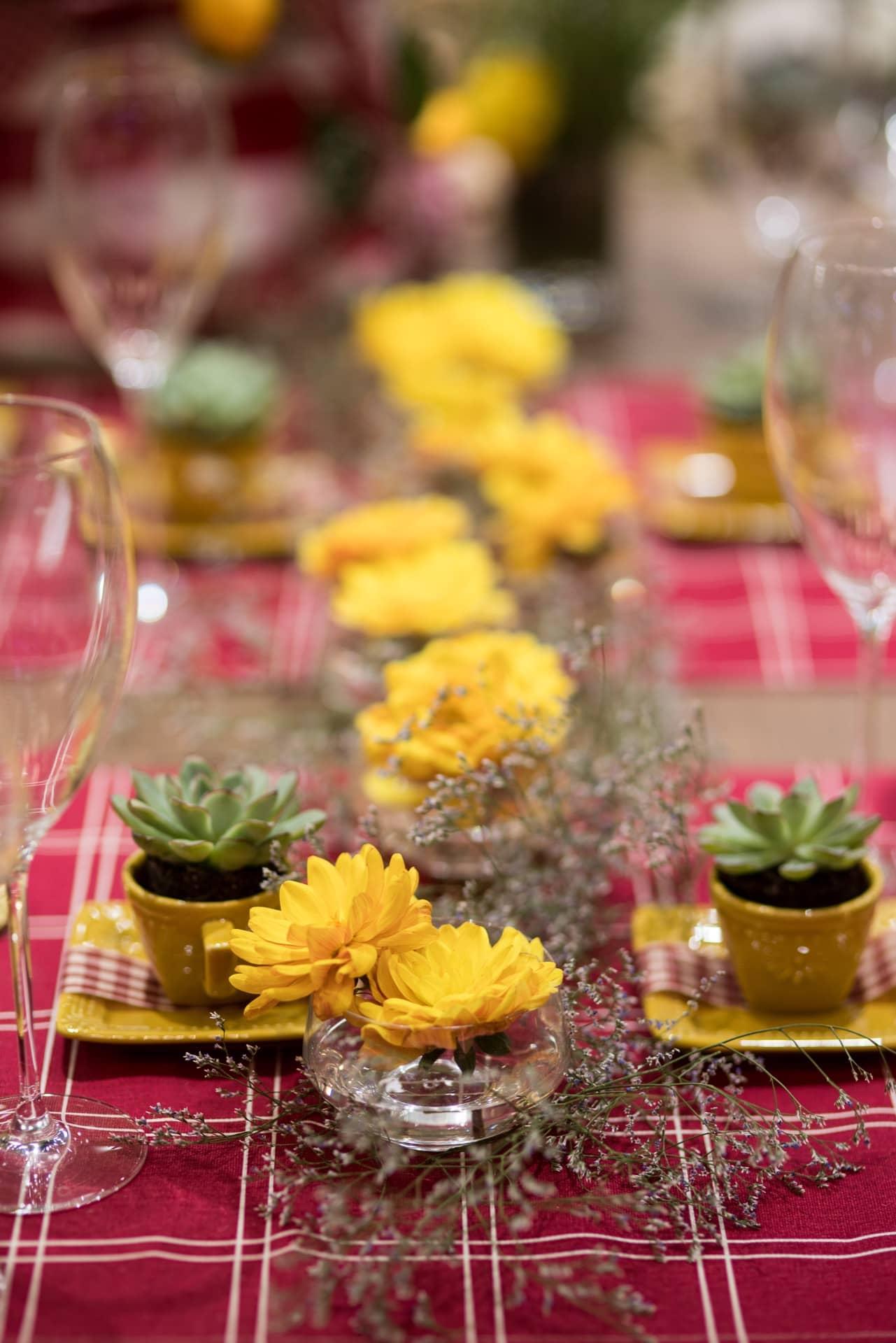 Ao longo da mesa, tigelas de sobremesa acomodam margaridas amarelas e galhos de Cáspia, florzinha miúda que lembra a lavanda. As xícaras de café da linha Provence, da Oxford, viram vasinhos para suculentas. Foto: Henrique Peron
