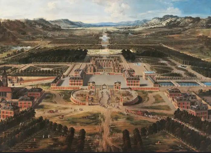 Nessa vista aérea do Palácio de Versalhes, pintada por Pierre Patelentre 1667 e 1668, se vê que os jardins já começavam a ser traçados. O responsável pela obra foi o jardineiro real de Luís XIV, André Le Nôtre. O projeto, extremamente complexo, levou 40 anos para ser concluído.