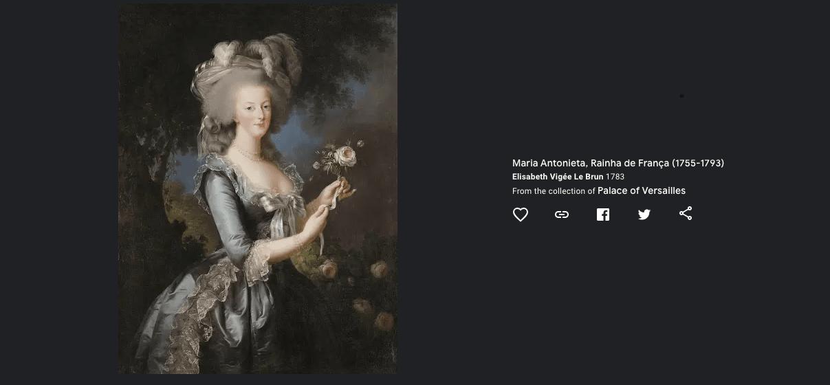 """Aqui, Maria Antonieta aparece usando uma vestido à la polonaise, de seda cinza. Com uma rosa na mão, a rainha está montando um buquê em uma cena rural. Foi Rose Bertin, a """"ministra da moda"""" de Marie-Antoinette, que trouxe um sopro de liberdade aos trajes da corte."""