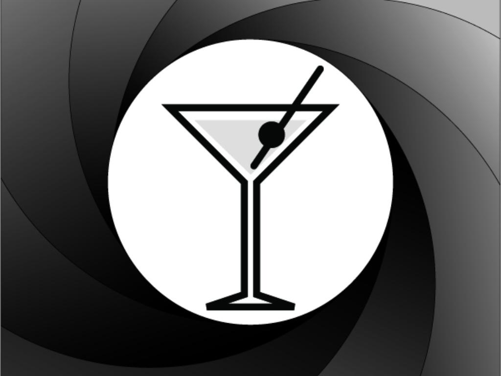 Texto: taça para coquetel Martini. Um ícone clássico nos filmes do agente secreto britânico, James Bond.