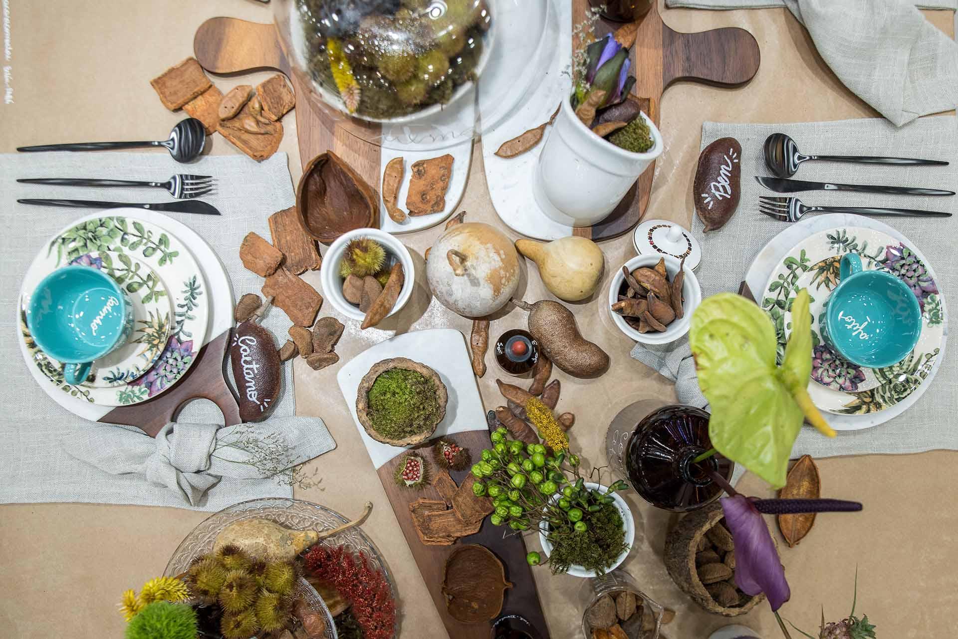 Texto: Elementos da natureza, típicas do Pará, trazem harmonia à mesa e tornam a composição lúdica. Foto: Henrique Peron.